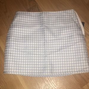 Blue and white houndstooth skirt
